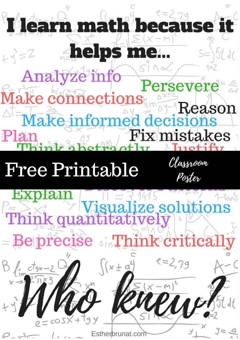 Cream Doodle Mathematics Classroom Poster copy