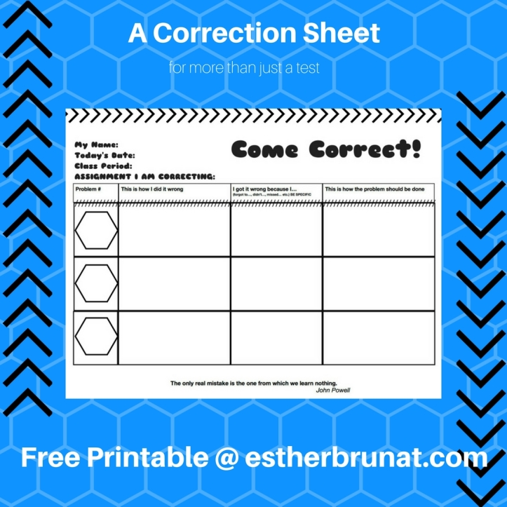 A Correction Sheet for more than just a test