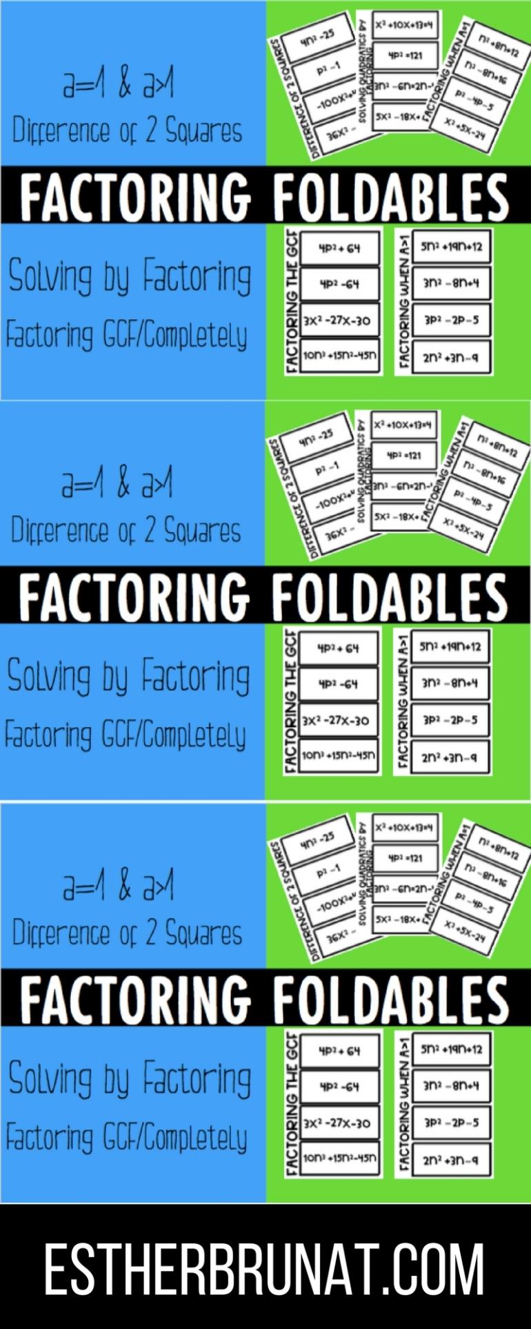 Factoring Polynomials & Trinomials Foldables